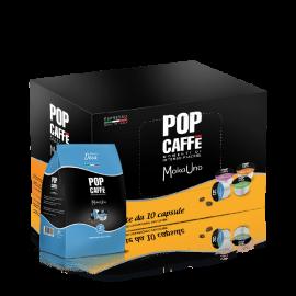 10 Capsule Pop Caffè Moka Uno Miscela 4 Decaffeinato Compatibili Uno Capsule System